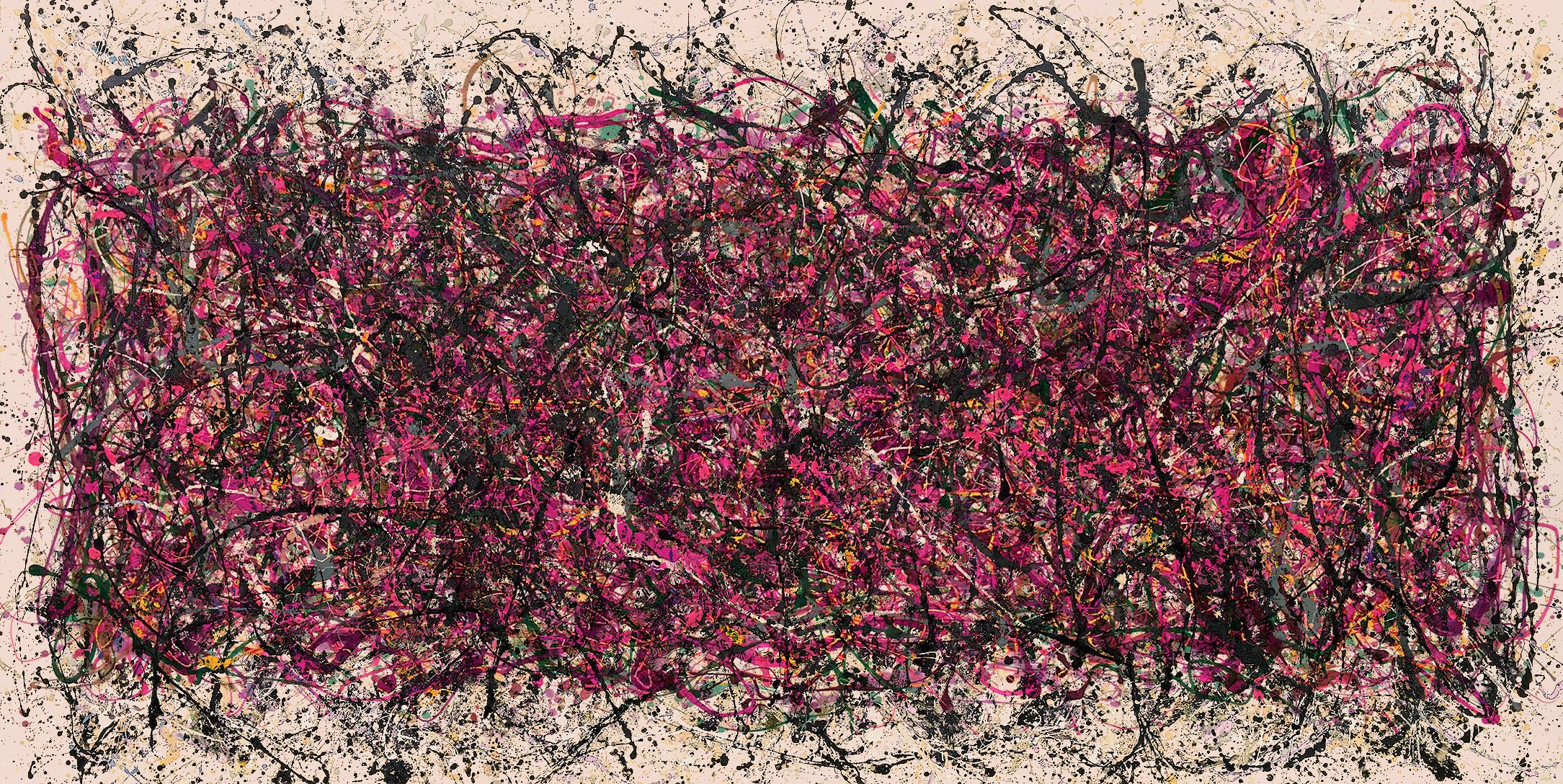 a vivid drip painting of pinks, magentas, and yellows with splashes of blacks